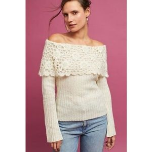 NEW ANTHROPOLOGIE OFF SHOULDER PULLOVER SWEATER
